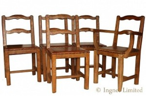 KINGPOST SET OF 5 YORKSHIRE OAK DINING CHAIRS 4+1 1