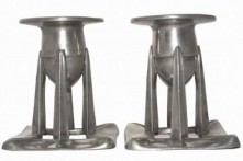 LIBERTY & CO. ENGLISH PEWTER CANDLESTICKS DESIGNED BY ARCHIBALD KNOX