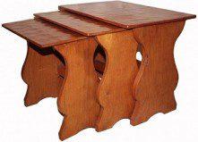 THOMAS GNOMEMAN WHITTAKER SET OF ADZED OAK TABLES