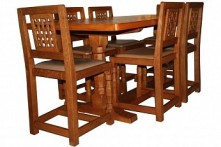 DAVID LANGSTAFF YORKSHIRE OAK DINING TABLE AND SIX CHAIRS