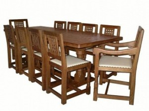 ROBERT MOUSEMAN THOMPSON DINING SUITE WITH 10 LATTICE BACK CHAIRS 1