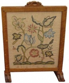 ROBERT MOUSEMAN THOMPSON OAK FIRESCREEN WITH TWO CARVED SIGNATURE MICE