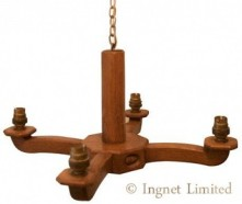ACORN INDUSTRIES YORKSHIRE OAK ARTS & CRAFTS FOUR ARM CEILING CHANDELIERS WITH UPLIGHTING LAMP HOLDERS