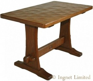ARTS & CRAFTS YORKSHIRE OAK REFECTORY STYLE COFFEE TABLE BY ACORN INDUSTRIES 1