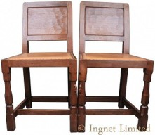 ROBERT MOUSEMAN THOMPSON PAIR OF VINTAGE PANELLED BACK DINING CHAIRS