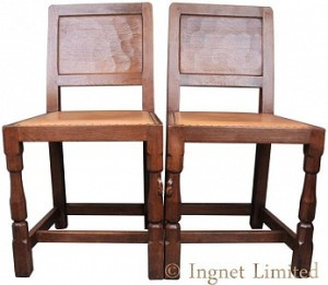 ROBERT MOUSEMAN THOMPSON PAIR OF VINTAGE PANELLED BACK DINING CHAIRS 1