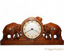 ROBERT MOUSEMAN THOMPSON CARVED ELEPHANT CLOCK