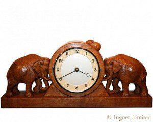 ROBERT MOUSEMAN THOMPSON CARVED ELEPHANT CLOCK 1