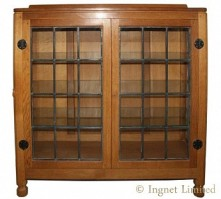ROBERT MOUSEMAN THOMPSON ADZED OAK DISPLAY CUPBOARD