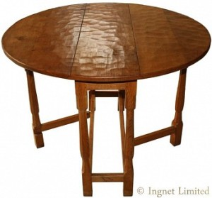 ALBERT EAGLEMAN JEFFRAY ADZED YORKSHIRE OAK DROPLEAF CIRCULAR TABLE 1