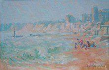 JOY PARSONS (1918-2012) BEACH SCENE