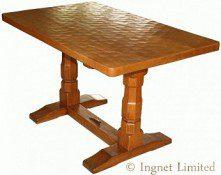 DEREK LIZARDMAN SLATER OF CRAYKE YORKSHIRE ADZED OAK DINING TABLE