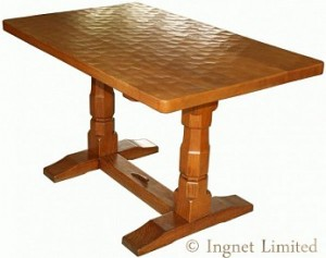 DEREK LIZARDMAN SLATER OF CRAYKE YORKSHIRE ADZED OAK DINING TABLE 1
