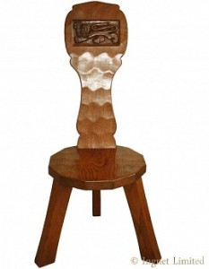 THOMAS GNOMEMAN WHITTAKER ADZED OAK SPINNING STOOL 1