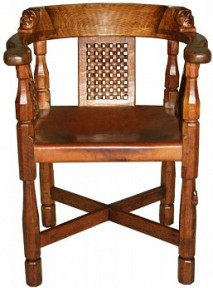 ROBERT MOUSEMAN THOMPSON RARE MONKS CHAIR WITH TWO CARVED MONKS HEADS