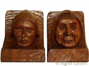 THOMAS GNOMEMAN WHITTAKER A PAIR OF RARE OAK BOOKENDS 1