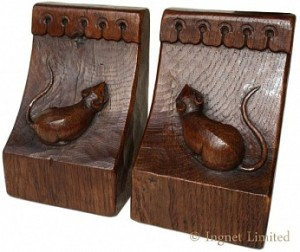 ROBERT MOUSEMAN THOMPSON A PAIR OF EARLY CARVED BOOKENDS 1