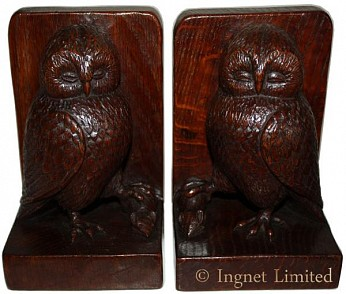 Robert Mouseman Thompson Pair Of Early Carved Owl Bookends