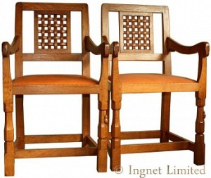ROBERT MOUSEMAN THOMPSON PAIR OF LATTICE BACK ARM CHAIRS 1
