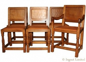 ROBERT MOUSEMAN THOMPSON SET OF SIX VINTAGE OAK PANELLED BACKED DINING CHAIRS 1