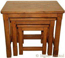 WILF SQUIRRELMAN HUTCHINSON OF HUSTHWAITE ADZED NEST OF OAK TABLES