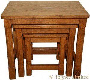 WILF SQUIRRELMAN HUTCHINSON OF HUSTHWAITE ADZED NEST OF OAK TABLES 1