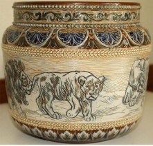 HANNAH BARLOW FOR DOULTON RARE LIONS JARDINIERE