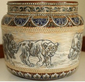 HANNAH BARLOW FOR DOULTON RARE LIONS JARDINIERE 1