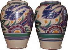 POOLE POTTERY RARE BLUE BIRD PATTERN VASES 1930