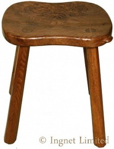 ROBERT MOUSEMAN THOMPSON VINTAGE 4 LEGGED ADZED BURR OAK MILKING STOOL 1