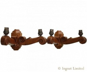 ROBERT MOUSEMAN THOMPSON RARE PAIR OF DOUBLE WALL LIGHTS 1