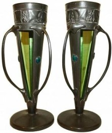 LIBERTY & Co PAIR OF PEWTER & ENAMEL VASES DESIGNED BY ARCHIBALD KNOX