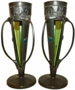LIBERTY & Co PAIR OF PEWTER & ENAMEL VASES DESIGNED BY ARCHIBALD KNOX 1