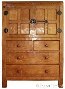ROBERT MOUSEMAN THOMPSON ADZED OAK TALLBOY AUMBRY 1
