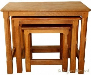 PETER RABBITMAN HEAP OF WETWANG YORKSHIRE OAK NEST OF TABLES 1