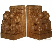 ROBERT MOUSEMAN THOMPSON A PAIR OF CARVED TRIPLE MICE BOOKENDS