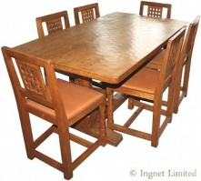 ROBERT MOUSEMAN THOMPSON DINING SUITE Rare 5 Foot Pegged Adzed Table and 6 Lattice Back Chairs