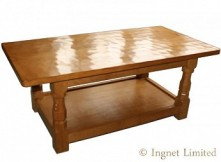 ROBERT MOUSEMAN THOMPSON MODERN LARGE REFECTORY COFFEE TABLE WITH SHELF BELOW