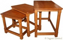 ROBERT MOUSEMAN THOMPSON NEST OF OAK TABLES WITH HAND CARVED ADZED TOPS