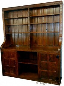 ROBERT MOUSEMAN THOMPSON EARLY BOOKCASE WITH TWIN MOUSE SIGNATURES