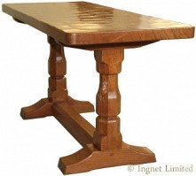 ROBERT MOUSEMAN THOMPSON SOLID OAK COFFEE TABLE WITH ADZED TOP