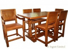 ROBERT MOUSEMAN THOMPSON OAK DINING SUITE 4 FT 6 REFECTORY STYLE TABLE