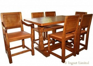 ROBERT MOUSEMAN THOMPSON OAK DINING SUITE 4 FT 6 REFECTORY STYLE TABLE 1