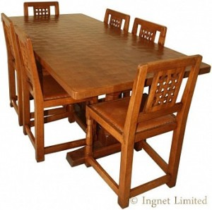 ROBERT MOUSEMAN THOMPSON CLASSIC OAK DINING SUITE 6 FOOT TABLE 1