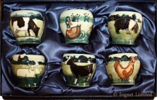 MOORCROFT BOXED SET OF SIX EGG CUPS BY ANJI DAVENPORT