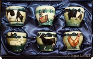 MOORCROFT BOXED SET OF SIX EGG CUPS BY ANJI DAVENPORT 1