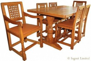 ROBERT MOUSEMAN THOMPSON MODERN DINING SUITE 5 FOOT TABLE WITH 6 LATTICE BACK CHAIRS 1