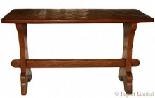 THOMAS GNOMEMAN WHITTAKER CARVED ADZED OAK HALL TABLE