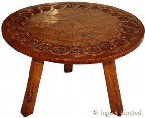 THOMAS GNOMEMAN WHITTAKER CIRCULAR ADZED OAK COFFEE TABLE 1