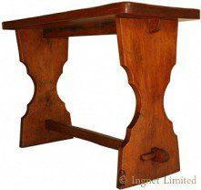 THOMAS GNOMEMAN WHITAKER ADZED OAK HALL TAVERN TABLE
